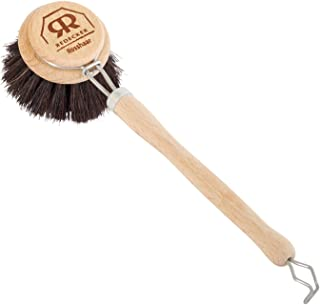 Redecker Horsehair Dish Brush with Untreated Beechwood Handle, 9-1/2 inches, Durable Natural Bristles, Hanging Loop for Easy Storage, Made in Germany