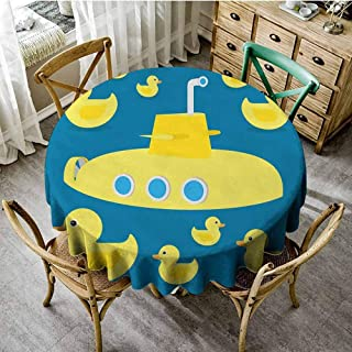 ScottDecor Rubber Duck Outdoor Picnics Duckies Swimming in The Sea with a Yellow Submarine Kids Party Nautical Print pad Round Tablecloth Navy Blue Diameter 60