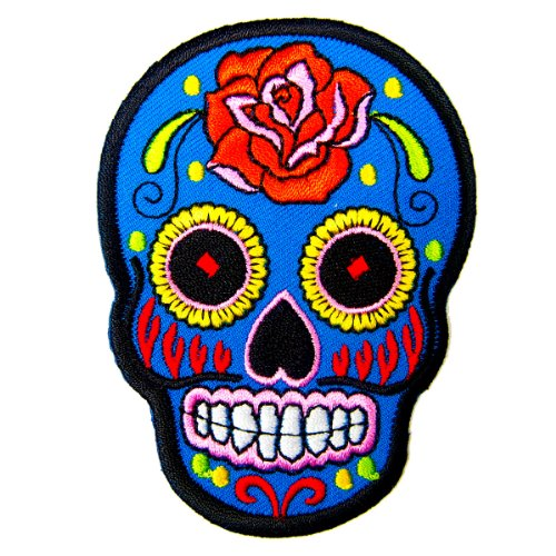 BLUE Mexican Sugar Skull Awesome Cool Embroidered Iron On Patches by Thanwa