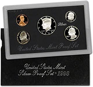 1993 S U.S. Silver Proof 5 Coin Set in Original Box with Certificate of Authenticity Proof