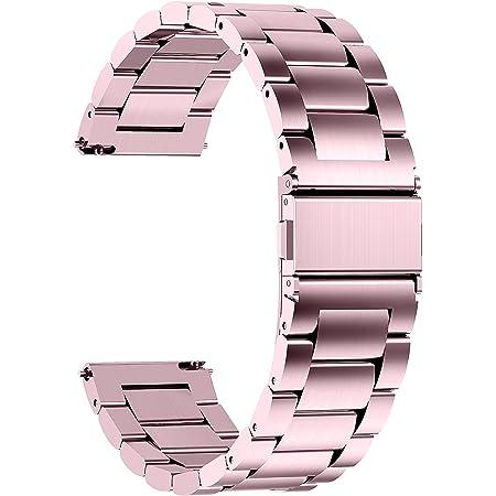 Fullmosa Bracelet GarminVivoactive4S/Vivomove3S Bracelet 18mm Rose Bracelets de Montre en Acier Inoxydable pour Homme/Femme