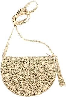 GSERA Damen Taschen Stroh Runde Gewebte Handgemachte Designer Strand Böhmen Rattan Kreis Umhängetasche für Frauen