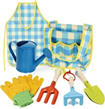 BeebeeRun Kid's Garden Tool Toys Set, Gardening Tool Set with Metal Shovel, Rake,Trowel, Watering Can, Gloves, Smock in On...