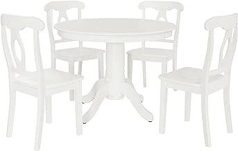 Aubrey 5 piece Traditional Height Pedestal Dining Set, White