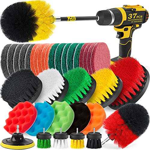 drill brush attachments Holikme 37 Pack Drill Brush Attachments Set,Scrub Pads & Sponge, Power Scrubber Brush with Extend Long Attachment All Purpose Clean for Grout, Tiles, Sinks, Bathtub, Bathroom, Kitchen,Yellow