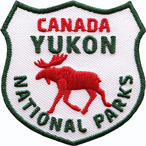 2 x Kanada Yukon Abzeichen gestickt 60 mm / Canada Nationalparks Elch Outdoor Trekking Reise Camping / Applikation Aufnäher Aufbügler Flicken Sticker Patch Bügelbild Reiseführer Flagge Fahne Flagg
