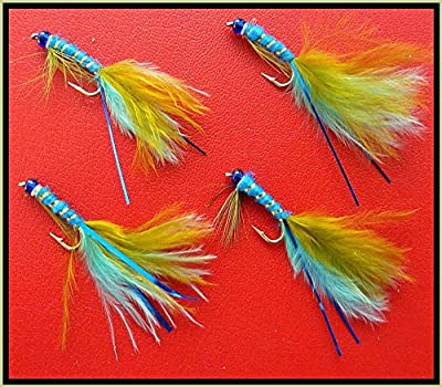 4 X Bluehead BLUE/OLIVE Damsel lures. Trout Fly Fishing Flies. Hook size 12 from ARC FISHING SUPPLIES