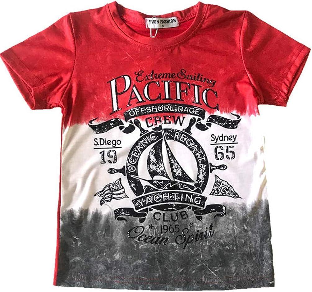 Boys' Casual Cotton Urban Designer Look Stretch Short Sleeve T-Shirts
