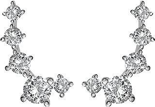 14K Gold Plated Cubic Zirconia Ear Crawler | Cuff Earrings | Hypoallergenic Stud Ear Climber Jackets