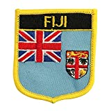 Fiji (UK) Flag Emblem Badge Crest Embroidered Patch Iron-On Sew-On for Backpacks, Bags, and Rugby Equipment (Fijian Crest, 2.75' x 2.35')