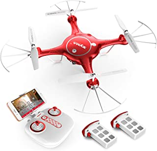 Syma X5UW RC Drone with Camera Live Video FPV Remote Control Quadcopter with 120°FOV 720P HD WiFi Camera - Altitude Hold Headless Mode 3D Flips One Key Take-Off/Landing and Extra Batteries, Color Red