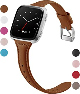 Maledan Compatible with Fitbit Versa Bands for Women Men Large Small,  Slim Genuine Leather Band Accessories Replacement Strap Compatible with Fitbit Versa Smart Watch/Versa Lite/Versa SE/Versa 2