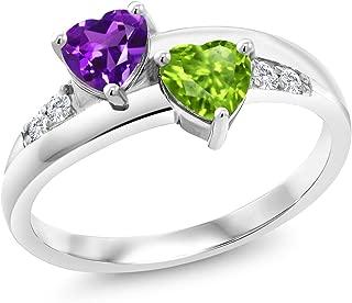 0.98 Ct Heart Shape Purple Amethyst Green Peridot 925 Sterling Silver Lab Grown Diamond Ring