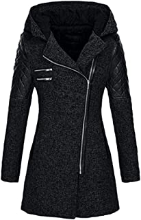 PEIZH Women Hooded Long Sleeve Stitching Jacket Casual Warm Slim Thick Parka Overcoat Winter Outwear Zipper Coat