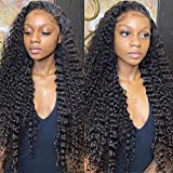 30inch Deep Wave Lace Front Wigs Human Hair Brazilian Hair Deep Curly Lace Frontal Wigs Human Hair Pre-Plucked Frontal Lace Closure Wigs Wet and Wavy Wigs Long Hair Water Wave Lace Wig