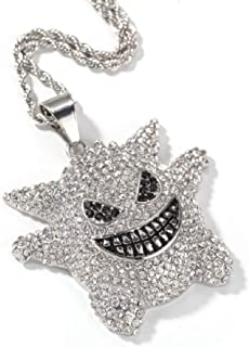 """JRjewelry Stainless Steel Hip Hop Bling Iced-Out Gengar Pendant Necklace Gold Plated 24"""" Rope Chain"""