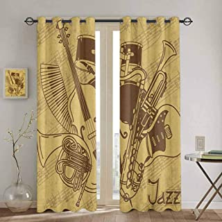 Music Doorway Curtain Jazz Music Equipments with Vintage Background Retro Style in Music Themed Print for Bedroom Kindergarten Living Room W52 x L63 Inch Cream Brown