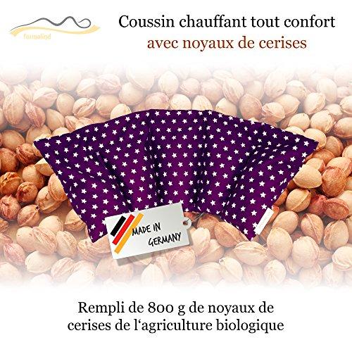 Cojín de huesos de cereza / Almohada relajante para el tratamiento térmico – Almohada para calentar en microondas (Resistente al calor) // 5 divisiones //disponible en 18 colores (lila)