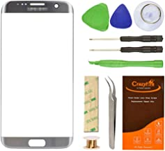 for Samsung Galaxy S7 Edge Silver Replacement Front Outer Lens Glass Screen CrazyFire Repair Kit with 1MM Adhesive Tape +Tools Kit+ 1 Pair Tweezers+1 Roll Micro Wire for G935V G935P G935F G935T G935A