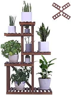 BRITOR Wooden Plant Shelf Indoor Outdoor Multi Tiered Plant Stand Flower Pot Holder High Low Display Rack Shelves for Gard...