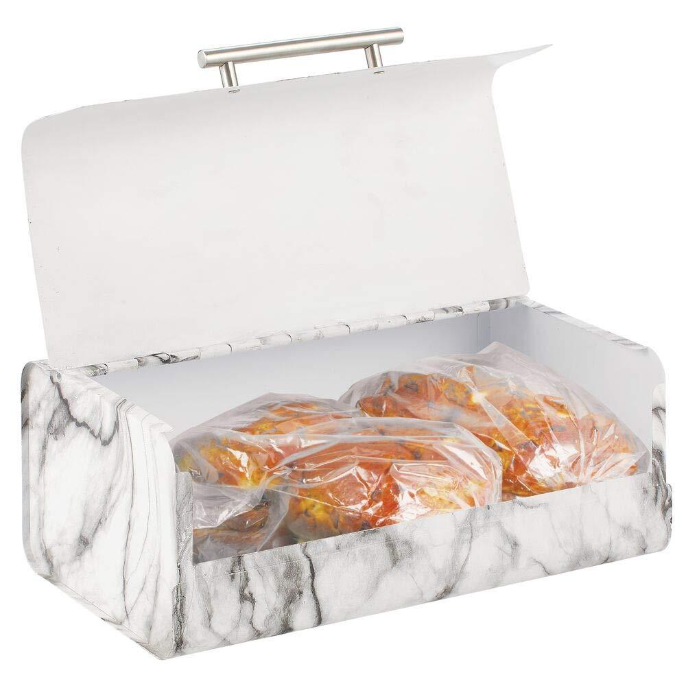 mDesign Panera de Metal – Elegante contenedor para Pan de Estilo Vintage – Caja de almacenaje con Tapa para Guardar Productos horneados y Mucho más – Blanco y Gris: Amazon.es: Hogar