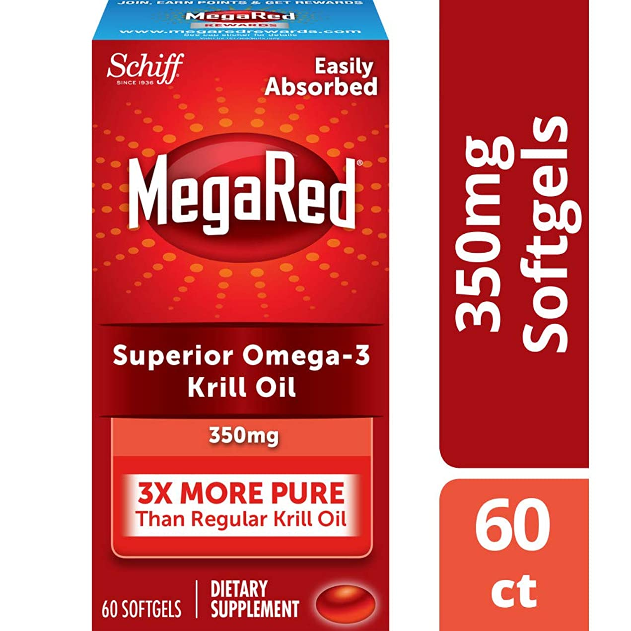 受取人コンバーチブル海外直送肘 Schiff Megared Omega-3 Krill Oil, 300 mg, 60 sgels
