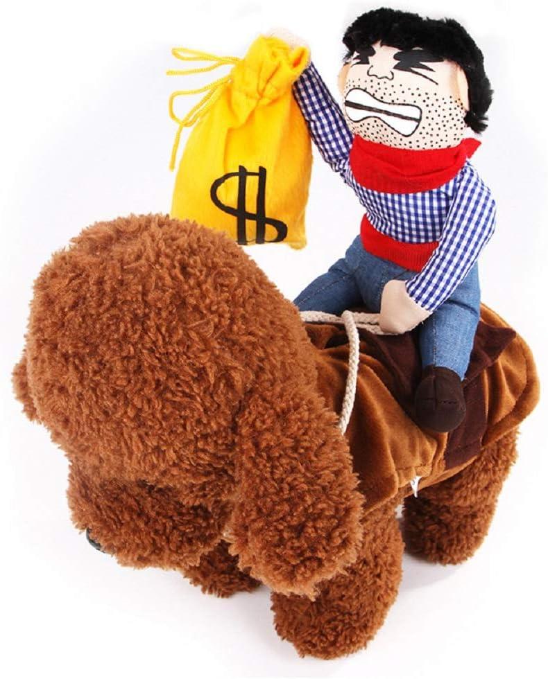YMKT Disfraz de Mascota de Halloween Ropa para Perros Montar a Caballo Divertido Cosplay Accesorios Ropa de Dibujos Animados (S M L XL)