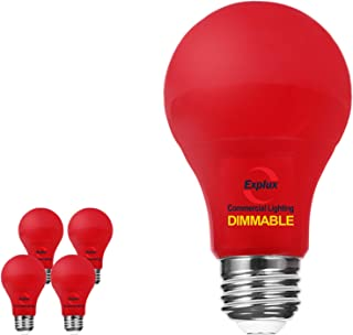 Explux Dimmable A19 LED Red Light Bulbs, 60W Equivalent, 4-Pack
