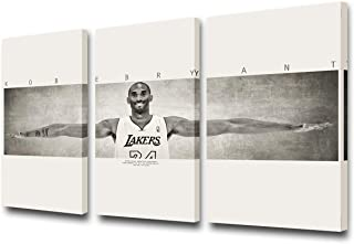 TUMOVO 3 Pieces NBA Wall Art Canvas Famous Basketball Player Kobe Bryant Poster Famous Wings Print Wall Decor for Living R...