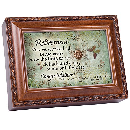 Cottage Garden Retirement Woodgrain Music Box/Jewelry Box Plays Amazing Grace