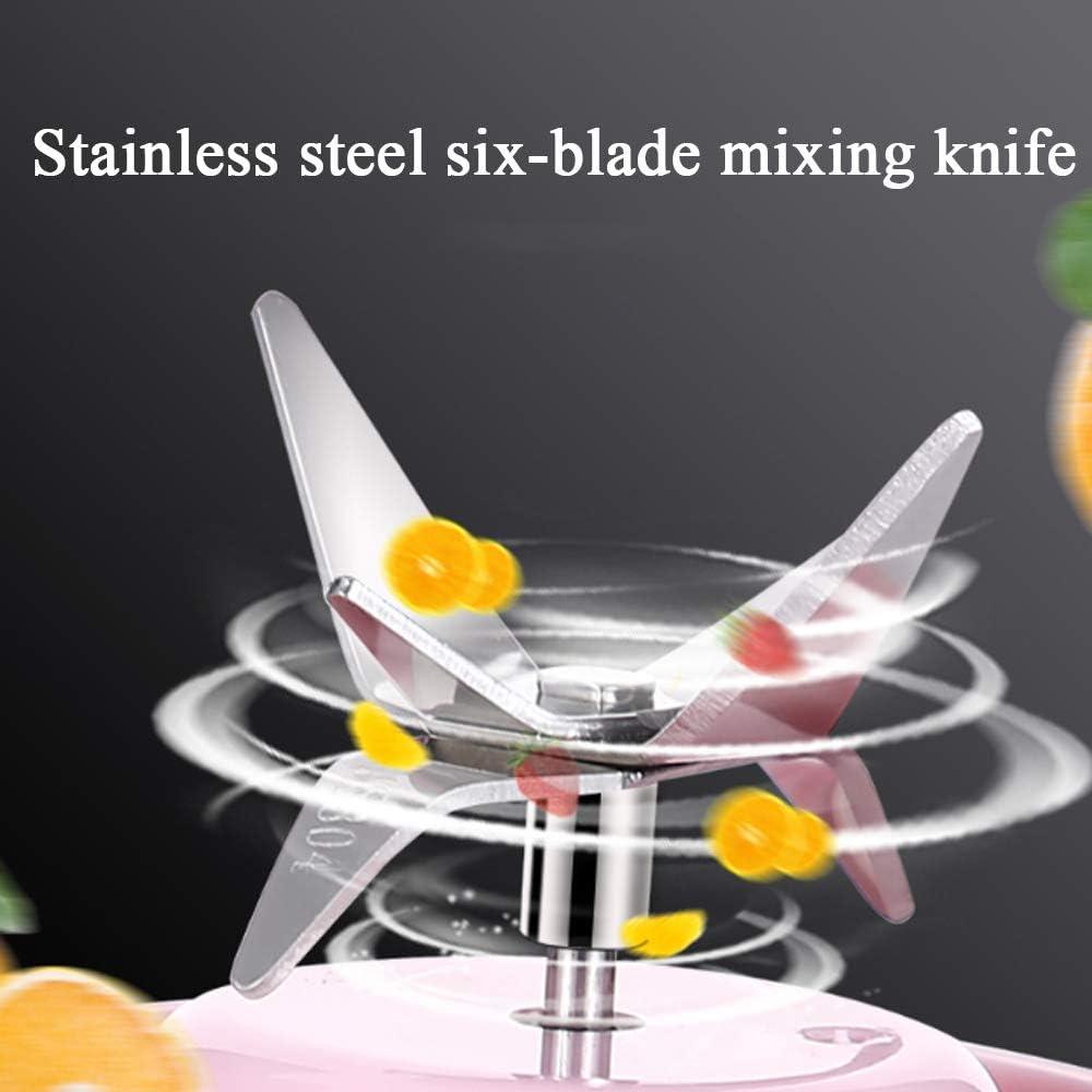 CNCBT Blender portátil, Mini portátil de Hogares Juicer de múltiples Funciones eléctrico Copa Exprimidor del Jugo Máquina de llenado,Blanco Pink