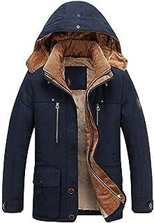 Lentta Men's Casual Winter Warm Thick Hooded Heavy Fleece Lined Parka Jacket Coat