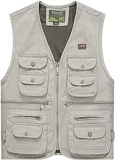 XXT Pocket Vest Cotton Men's Spring and Autumn Thin Section Sports and Leisure Multi-Pocket Vest Practicality (Color : Beige, Size : 3XL)