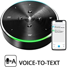 AI Voice-to-Text Speakerphone- eMeet Note N1 Smart WiFi/Bluetooth Speakerphone Conference Speaker Role-Based & Directional Recording 4 omnidirectional Microphones 360° Voice Pickup, skype Speakerphone