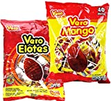 Vero Elotes Paletas Sabor Fresa and Vero Mango Con Chile Lollipop Assortment - Mexican Hard Candy Chili Pops 40 Pcs each - Variety Pack of 2 (Mango & Elotes)