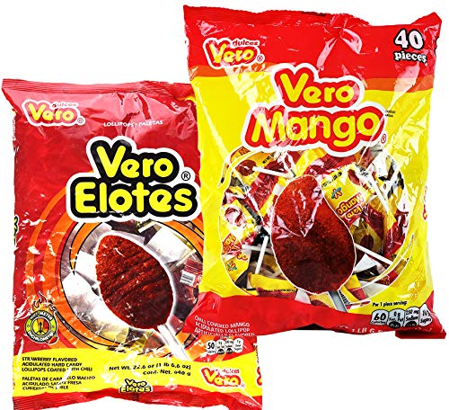 Vero Elotes Paletas Sabor Fresa and Vero Mango Con Chile Lollipop Assortment - Mexican Hard Candy Chili Pops 40 Pcs each - Variety Pack of 2 (Mango & Elotes)