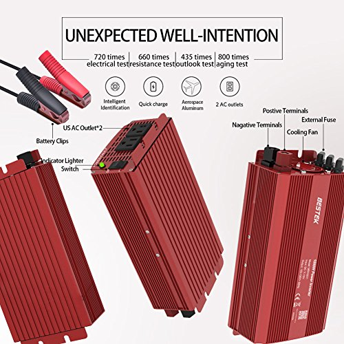 BESTEK Power Inverter 1000 Watt DC 12 Volt, Power Converter 1000w DC to AC Converter for Car