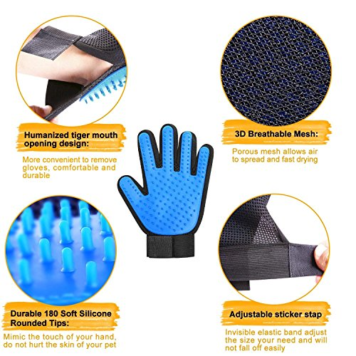 Product Image 5: PICKVILL Efficient Pet Hair Remover Mitt Enhanced 5 Finger Design Gentle Deshedding Brush Gloves for Dogs with Long and Short Fur (Multicolour)