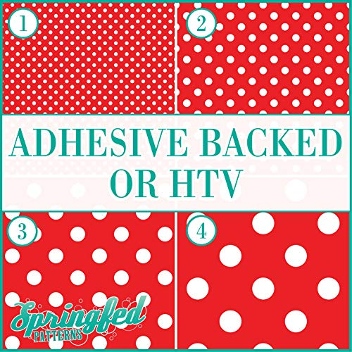 Red & White POLKA DOTS PATTERN #1 Basic Colors Heat Transfer or Adhesive Vinyl CHOOSE YOUR MATERIAL and POLKA DOT SIZE!
