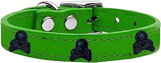 طوق من الجلد الطبيعي للكلاب بحليات جماجم من ميراج بت برودكتس 83-116 EG16، مقاس 40.64 سم، أخضر زمردي