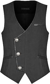 Punk Rave Mens Steampunk Waistcoat Vest Black Gothic Faux Leather Dieselpunk Vintage