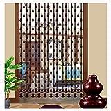 LIQICAI - Cortinas de madera natural con cuentas, cortinas de cristal de caoba, división de aleación de aluminio utilizada para sala de estar, dormitorio, baño, evitar perforaciones