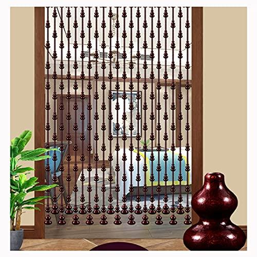 LIQICAI Cortinas Cuentas de Madera Natural, Caoba Cristal Cortinas Puerta, Pista Aleación Aluminio Dividir Usado para Sala Cuarto Cuarto Baño (Color : Wine Red, Size : 21 Strands-0.6X0.81M)
