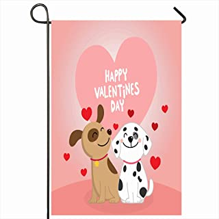 Ahawoso Outdoor Garden Flag 12x18 Inches Funny Red Happy Valentines Day Cute Dogs Sweet Heart Couple Holidays Baby Date February Friend Design Home Decor Seasonal Double Sides House Yard Sign Banner