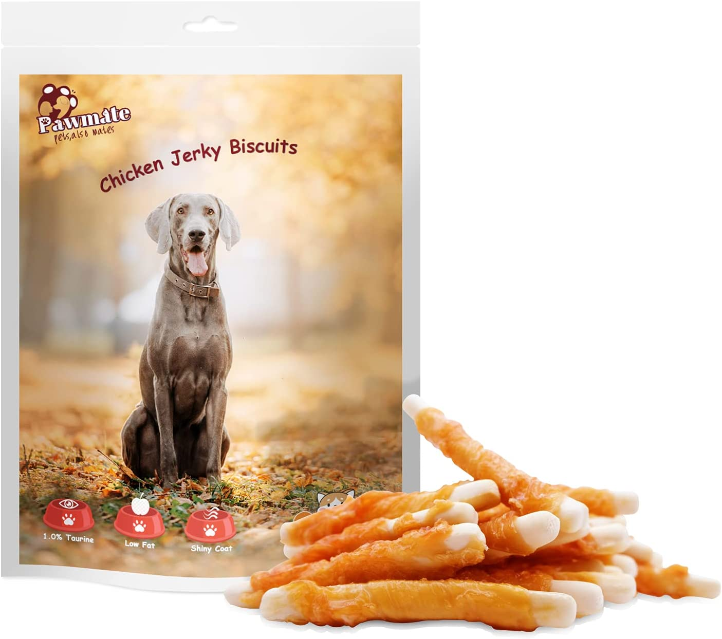 Pawmate Columbus Mall Dog Treats Chicken Wrapped with High material Taurine Biscuits Grain