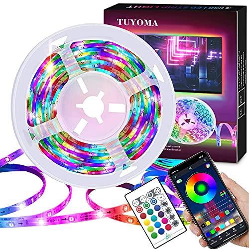 LED Streifen Dimmbar, USB LED Strip 5m RGB 5050 LED Band, Farbwechsel LED Lichterkette mit Fernbedienung und APP Steuerung, Musik Sync Lights stripe, für die Beleuchtung Von Haus,Küche,TV