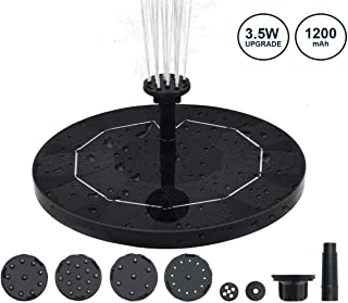 KGK 3.5W Solar Fountain Pump for Bird Bath, Upgraded Solar Powered Water Fountain Pump with 6 Nozzles, Built-in 1200mAh Battery, Light Sensing Detection, for Bird Bath, Pond, Pool, Fish Tank, Outdoor