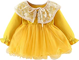 TOPBIGGER 2020 NEW Toddler Baby Girls Patchwork Dress Long Sleeved Dress Doll Collar Dresses Lace Tutu Dress Christmas Princess Party Dresses Photography Costume 6M-3Y