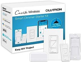 Lutron Caseta Smart Start Kit, Dimmer Switch with Smart Bridge and Wall Mount Pico Adapter, Works with Alexa, Apple HomeKi...