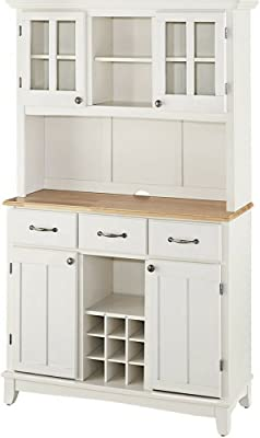 Buffet Hutch Cabinet Wooden Large Country Farmhouse Kitchen Cabinet  Cupboard Two Tone Natural And White Living